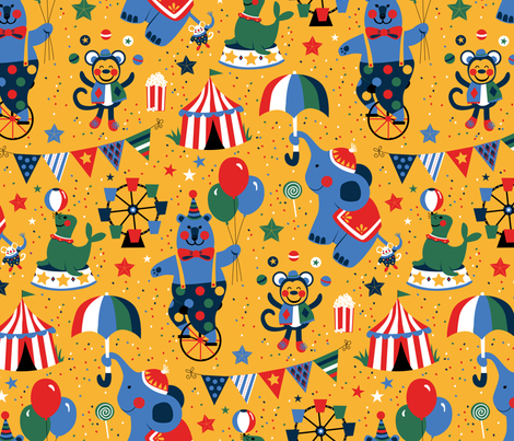 Sunny Day at the Circus  fabric by designs_by_lisa_k on Spoonflower - custom fabric