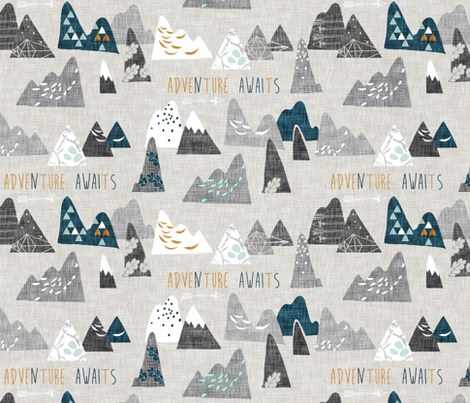 Adventure awaits (REGULAR) (grey/teal) fabric by nouveau_bohemian on Spoonflower - custom fabric