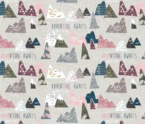 Adventure Awaits (REGULAR) (plum) fabric by nouveau_bohemian on Spoonflower - custom fabric