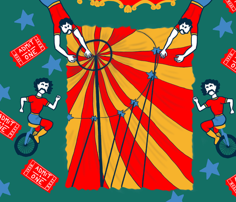 Flying Trapeze Artists fabric by tsm_illustrations on Spoonflower - custom fabric