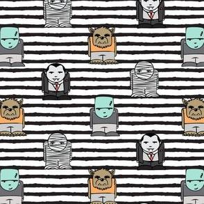 little monsters - b/w stripes