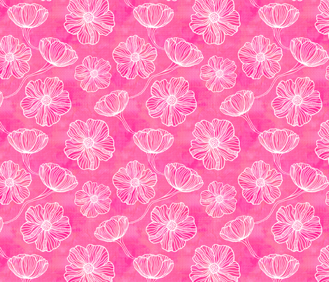 White Flower Outlines on Pink fabric by xoxotique on Spoonflower - custom fabric