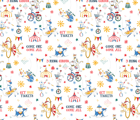 3 Ring Circus - © Lucinda Wei fabric by lucindawei on Spoonflower - custom fabric