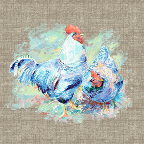 watercolor chicken pair on linen texture