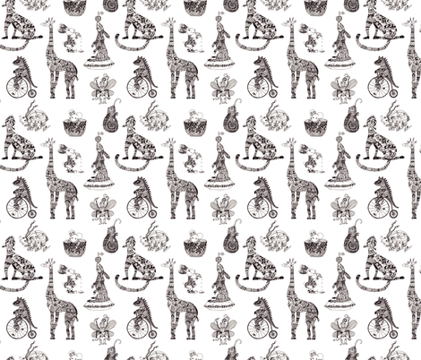 Fancy circus animals in black and white fabric by acheartist on Spoonflower - custom fabric