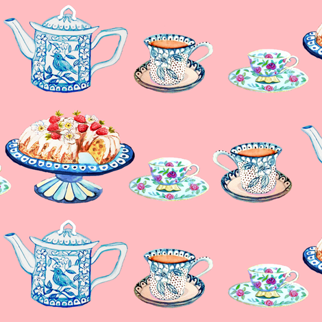 Jane Austen's tea and cake fabric by magentarosedesigns on Spoonflower - custom fabric