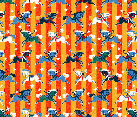 Retro Circus Horses fabric by hollybender on Spoonflower - custom fabric