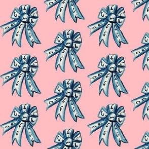 Jane Austen Ribbon Rosette in Regency Blue on  regency pink