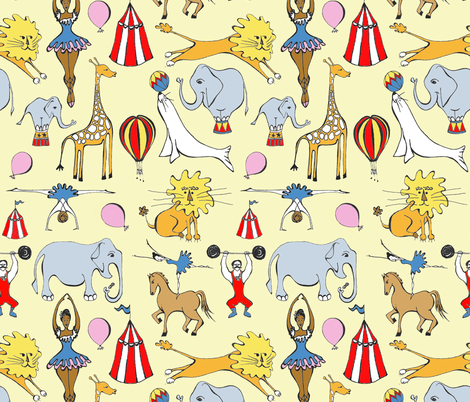 Retro Circus fabric by pookeek on Spoonflower - custom fabric
