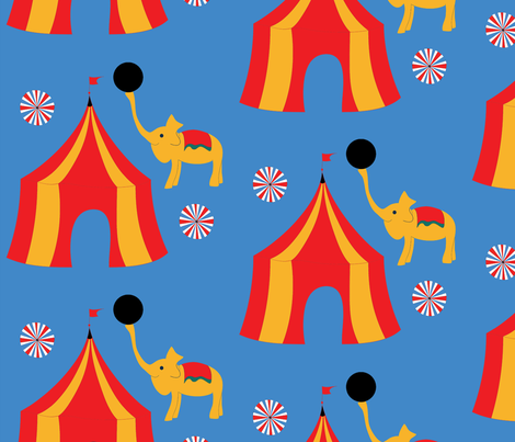 retro_circus_in_blue fabric by weronikahdesign on Spoonflower - custom fabric