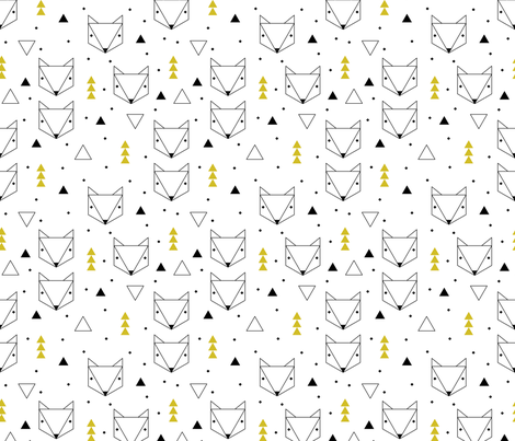 Clean Scandinavian geometric animals  triangle fox for gender neutral ochre yellow fabric by littlesmilemakers on Spoonflower - custom fabric