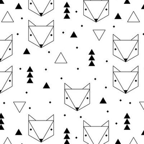 Clean Scandinavian geometric animals  triangle fox for gender neutral black and white