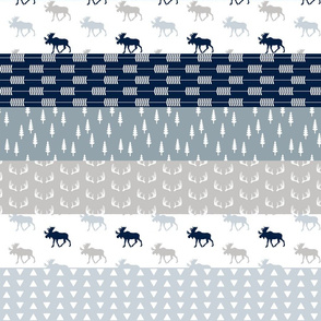 """3"""" small scale -  Moose Wholecloth Quilt Top // Navy Neutrals"""