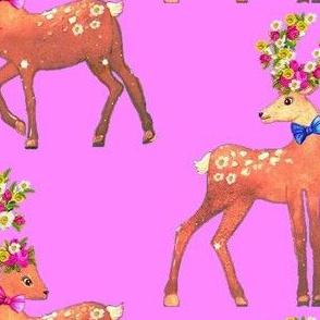 Scandinavian deer & fawn  Floral