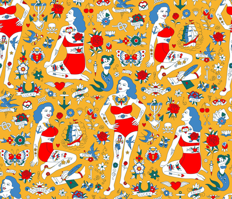 Lydia The Tattooed Lady (Circus Palette) fabric by cerigwen on Spoonflower - custom fabric