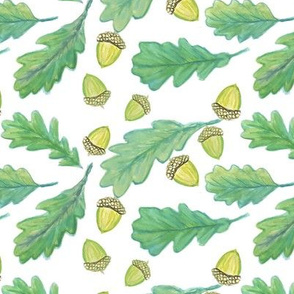 oak leaves / Watercolor  green