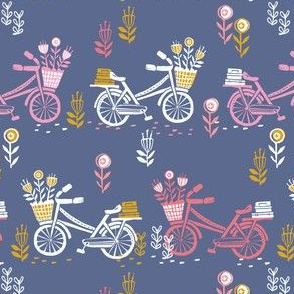 bicycle fabric // bicycle florals linocut design andrea lauren fabric - blue and pink