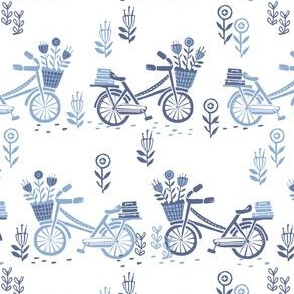 bicycle fabric // bicycle florals linocut design andrea lauren fabric - blue and white