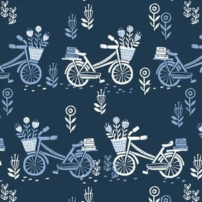 bicycle fabric // bicycle florals linocut design andrea lauren fabric - blue and navy