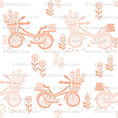 bicycle fabric // bicycle florals linocut design andrea lauren fabric - peach and coral