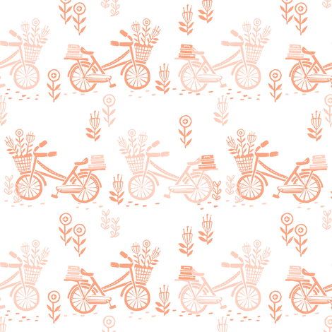 bicycle fabric // bicycle florals linocut design andrea lauren fabric - peach and coral fabric by andrea_lauren on Spoonflower - custom fabric