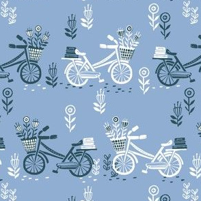 bicycle fabric // bicycle florals linocut design andrea lauren fabric - blue