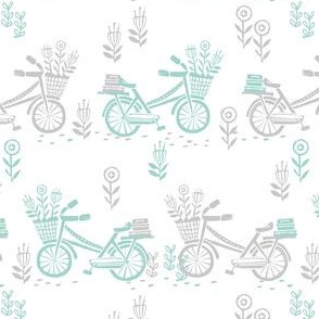 bicycle fabric // bicycle florals linocut design andrea lauren fabric - mint and grey
