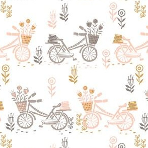 bicycle fabric // bicycle florals linocut design andrea lauren fabric - peach and taupe