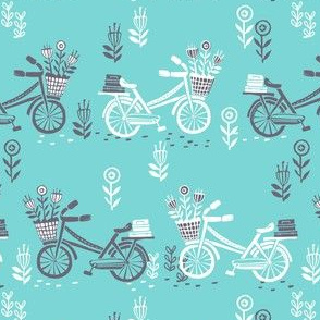 bicycle fabric // bicycle florals linocut design andrea lauren fabric - turquoise