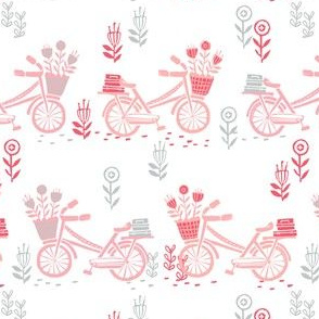bicycle fabric // bicycle florals linocut design andrea lauren fabric - pink and grey