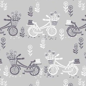 bicycle fabric // bicycle florals linocut design andrea lauren fabric - grey