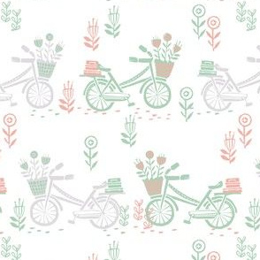 bicycle fabric // bicycle florals linocut design andrea lauren fabric - mint grey and pink