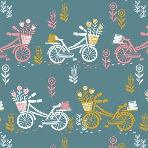 bicycle fabric // bicycle florals linocut design andrea lauren fabric - teal