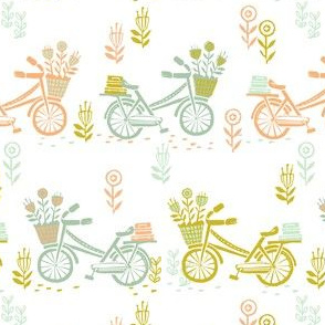 bicycle fabric // bicycle florals linocut design andrea lauren fabric - summer
