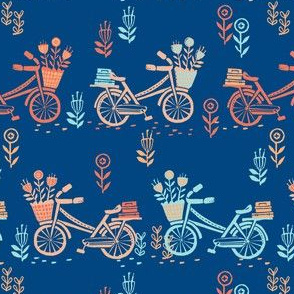 bicycle fabric // bicycle florals linocut design andrea lauren fabric - navy and coral