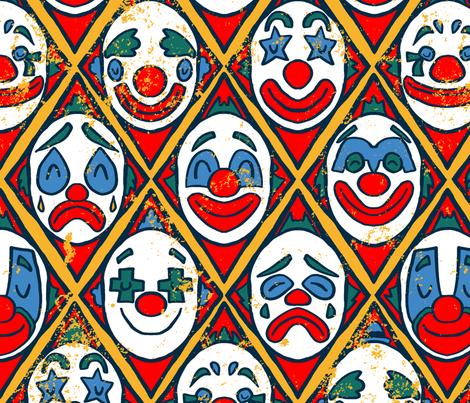 Vintage Clowns - Circus Pattern fabric by antonybriggs on Spoonflower - custom fabric