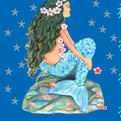 mermaid girl with shells and tropical flowers ,