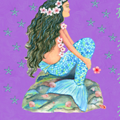 mermaid girl on lilac with shells and tropical flowers ,