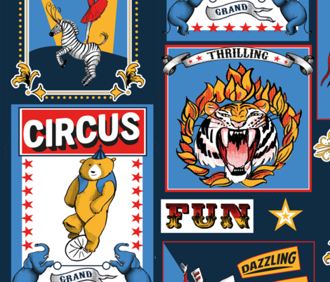 circus posters fabric by ghouk on Spoonflower - custom fabric