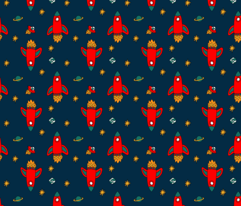 Red rocket fabric marybottom spoonflower for Rocket fabric