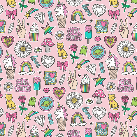 Patches Stickers 90's Doodle Unicorn Ice Cream, Rainbow, Hearts, Stars, Gemstones, Love and Flowers on Pink Smaller fabric by caja_design on Spoonflower - custom fabric