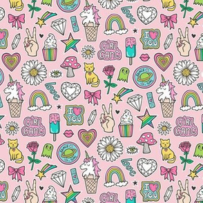 Patches Stickers 90's Doodle Unicorn Ice Cream, Rainbow, Hearts, Stars, Gemstones, Love and Flowers on Pink Smaller