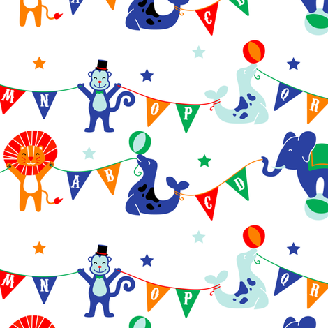 Circus Animals ABCs on White fabric by robinskarbek on Spoonflower - custom fabric