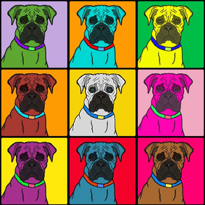 Boxer Dog - Colorful Warhol Squares