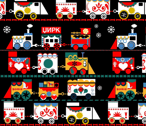 Russian Circus Train fabric by boris_thumbkin on Spoonflower - custom fabric