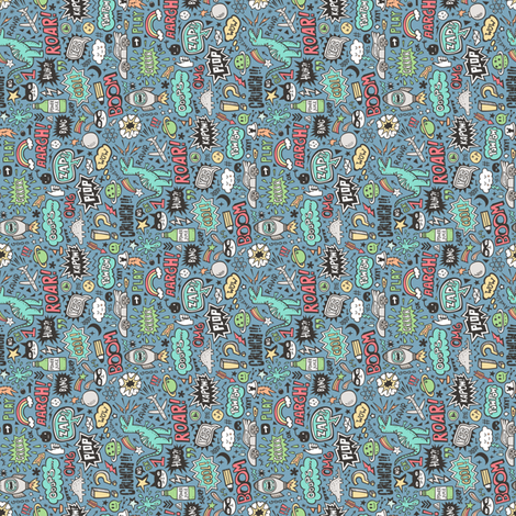 Superheroes  Dinosaurs Space  Galaxy Comic Speech Bubbles Doodle on Dark Blue Tiny Small Rotated fabric by caja_design on Spoonflower - custom fabric