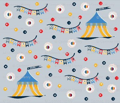 navy stripes circus