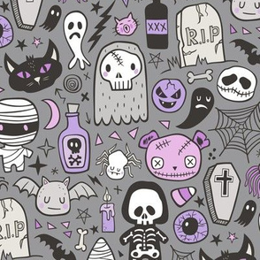 Halloween Doodle Skulls,Spiders,Skeleton,Bat, Ghost,Web, Zombies Purple on Dark Grey