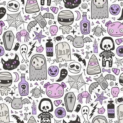 Halloween Doodle Skulls,Spiders,Skeleton,Bat, Ghost,Web, Zombies  Purple on White
