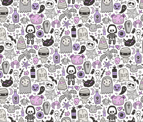 Halloween Doodle Skulls,Spiders,Skeleton,Bat, Ghost,Web, Zombies  Purple on White fabric by caja_design on Spoonflower - custom fabric